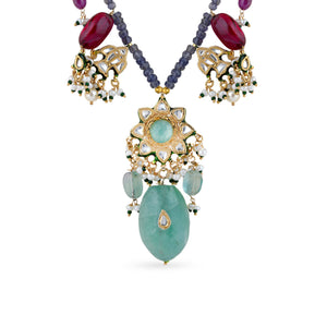 Gold plated silver mix base metal kundan necklace and earrings set with real pearls and Fluorite, Rose Quartz, Citrine, Amethyst . The set has hand-painted meenakari work at the back.