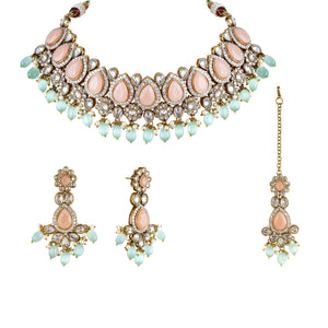 Polki Crystal choker necklace set with pink center and blue drops