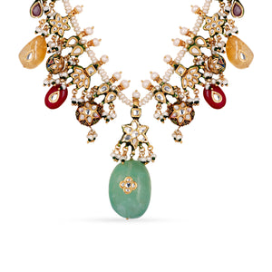 Gold plated silver mix base metal kundan necklace and earrings set with real pearls and Fluorite, Rose Quartz, Citrine, Amethyst and Baroque pearls . The set has hand-painted meenakari work at the back of the set.