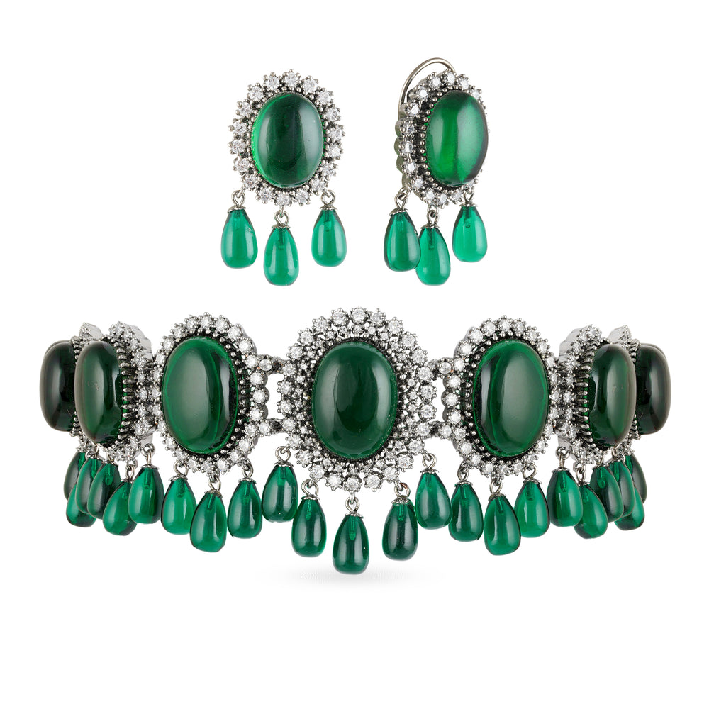 Emerald Green sabyasachi style choker with matching stud earrings and green emerald drops