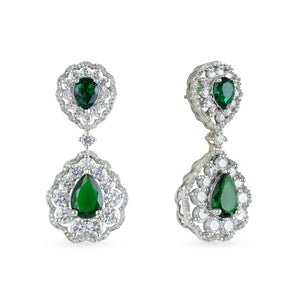 Stunning rhodium cubic zirconia studded finish necklace set with matching earrings and green center stone