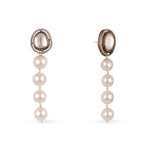 kundan tassel earrings with grey pearl hanging. Indian jewellery Canada Toronto pearls
