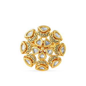 Load image into Gallery viewer, Gold plated kundan ring with meenakari.
