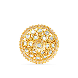 Gold plated kundan ring as seen on bolywood celebrity Jhanvi Kapoor.