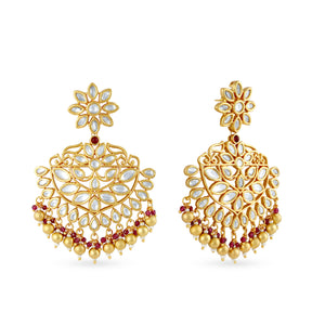 Load image into Gallery viewer, Gold plated kundan earrings.