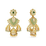 Gold plated kundan and meenakari statement earrings.