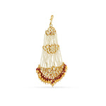 Gold plated jhumar with  faux pearls.
