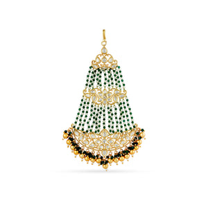 Gold plated jhumar with red beads and faux pearls.