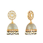 Gold plated kundan earrings with meenakari work on jhumki dome.