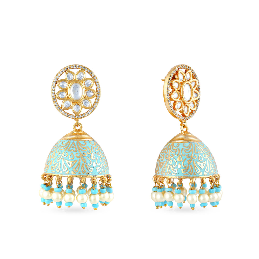 Load image into Gallery viewer, Gold plated kundan earrings with meenakari work on jhumki dome.