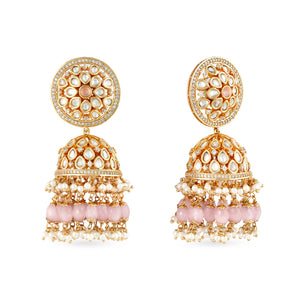 High quality Gold plated kundan earrings with pink drops .