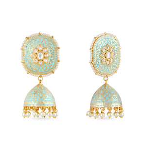 Gold plated kundan earrings with meenakari work .