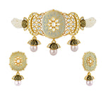Kundan and meenakari choker with matching jhumki earrings.
