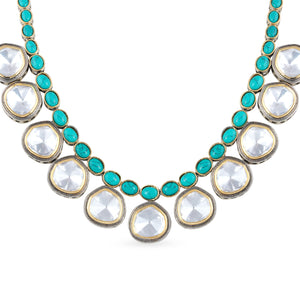Two-tone plating polki choker necklace set with matching earrings.