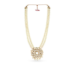 Gold plated long haar with faux pearls and kundan pendant.
