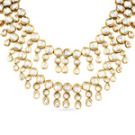 Gold plated kundan necklace set with matching earrings.