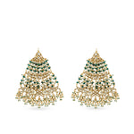 Gold plated jhumar style kundan earrings  .