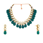 Gold plated simple kundan choker necklace set with matching earrings.
