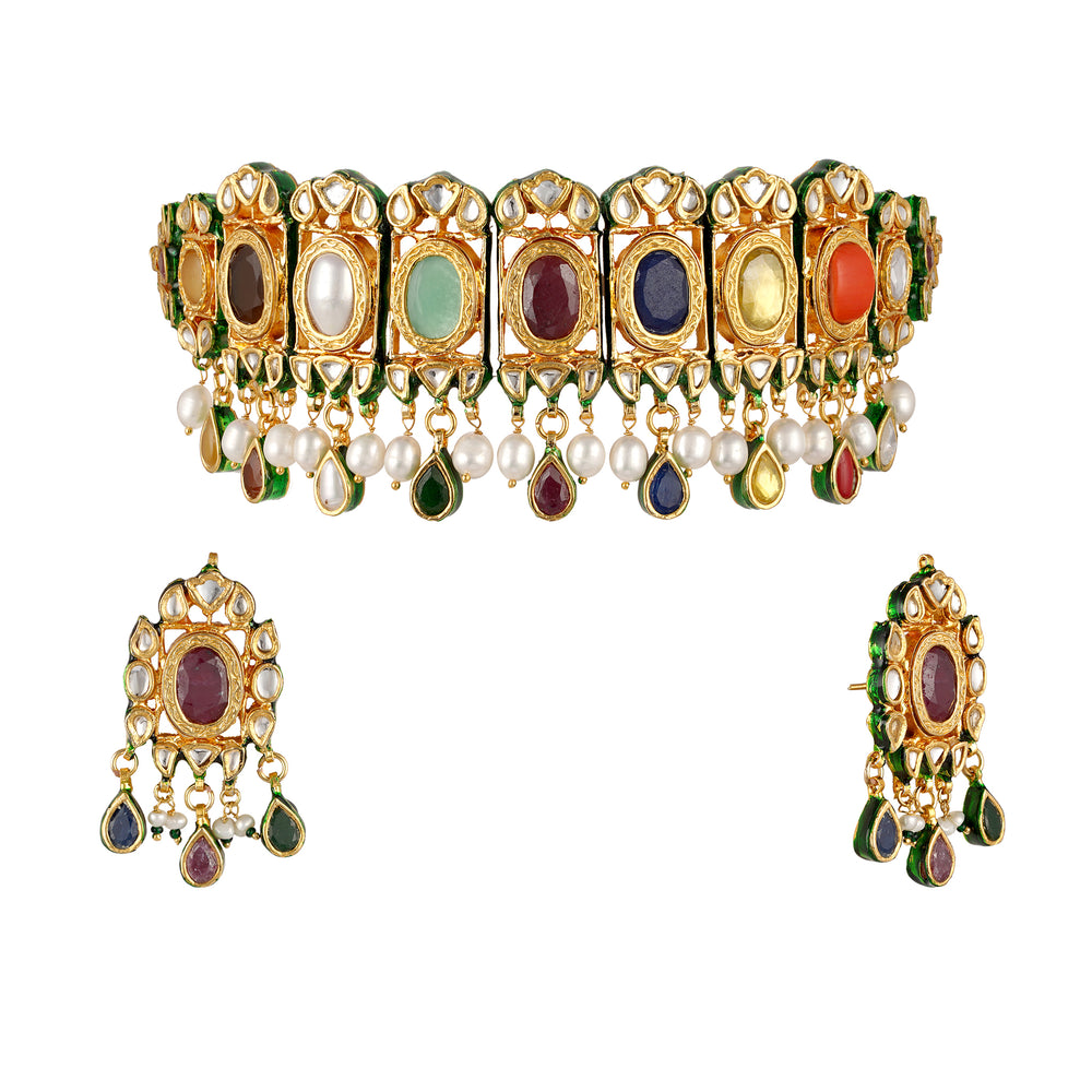 Load image into Gallery viewer, Ansley Kundan choker