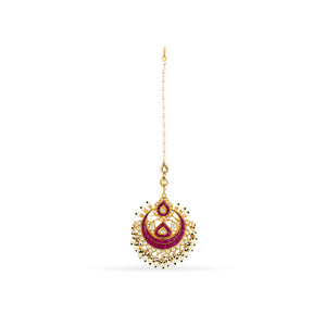 Gold plated kundan maang tikka with ruby takkar work.