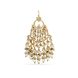 Gold plated statement jhumar with faux pearls.