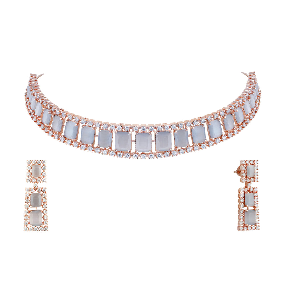 Stunning single line cubic zirconia chokers with matching earrings.