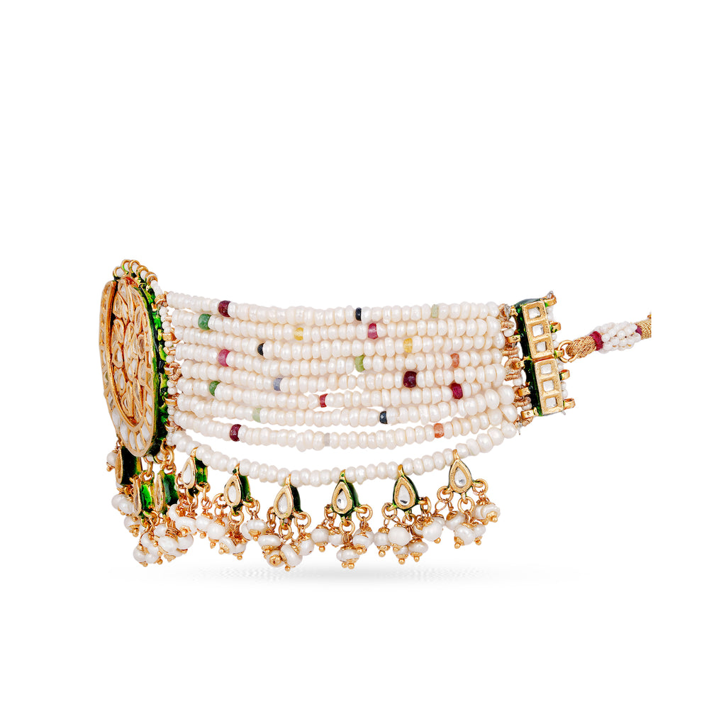 Gold plated silver base kundan choker with real pearls and semi precious stone