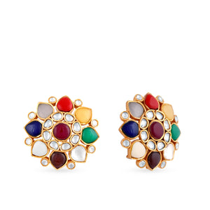 High end finish kundan earrings set withhydrothermal stones in pure silver casing centered