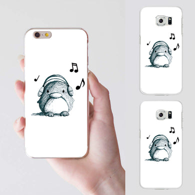Cute Listen to Music Penguin Case Cover for iPhone 7 Plus Samsung Galaxy S6 S7