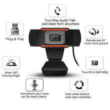 Load image into Gallery viewer, 30 degrees rotatable 2.0 HD Webcam 1080p USB Camera Video Recording Web Camera with Microphone For PC Computer