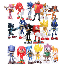 Load image into Gallery viewer, 6pcs/set 3-12cm Sonic Figures Toy Super Sonic the Hedgehog Sonic Shadow Tails Knuckles PVC Action Figure Keychain Figurines Doll