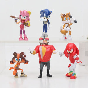 6pcs/set 3-12cm Sonic Figures Toy Super Sonic the Hedgehog Sonic Shadow Tails Knuckles PVC Action Figure Keychain Figurines Doll