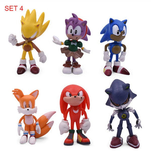 12cm 5pcs/set Sonic Figure Toys Doll Anime Cartoon Sonic Tails   Knuckles Shadow Amy Rose PVC Action Toy Model For Children Gift