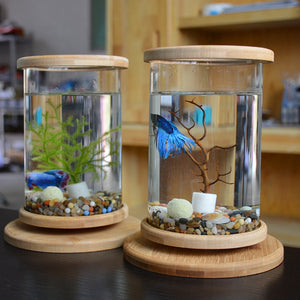 1pcs Glass Betta Fish Tank Bamboo Base Mini Fish Tank Decoration Accessories Rotate Decoration Fish Bowl Aquarium Accessories
