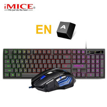 Load image into Gallery viewer, Gaming Keyboard and Mouse Imitation Mechanical Keyboard with backlight Russia Gamer Keyboard 5500dpi Silent Mouse for PC Laptop