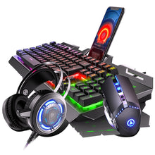 Load image into Gallery viewer, Gaming Mechanical Feel Keyboard And Mouse Headset Earphone Three-piece Suit Desktop PC game 2400 DPI Macro Mouse USB Wired