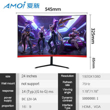 Load image into Gallery viewer, Amoi 24 inch Curved LED Monitor 75Hz for Computer Gaming Gamer Display Screen 1080P For PC Monitors input 1ms Screens HDMI/VGA