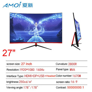 Amoi 24 inch Curved LED Monitor 75Hz for Computer Gaming Gamer Display Screen 1080P For PC Monitors input 1ms Screens HDMI/VGA