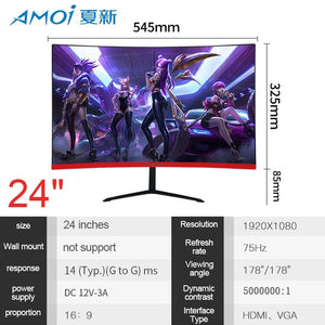 Amoi 24/27/32inch Curved Computer Monitor Screen for Gamer 75HZ 165HZ PC Gaming monitor Full Hdd input 5ms Respons HDMI/VGA