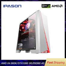 Load image into Gallery viewer, IPASON Office Desktop Computer Gaming Card 1050TI Upgrade/RX560 4G AMD X4 860K RAM D3/D4 8G 120G SSD Cheap Gaming PC