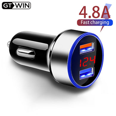 GTWIN 4.8A Car Charger Mobile Phone Fast Charging Adapter in Car with LED Display Quick Charge Dual USB Car Charger Universal