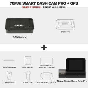 Original 70mai Dash Cam Pro 1944P Speed & Coordinates GPS ADAS 70mai Pro Car Dash Camera WiFi DVR English Control 24H Parking