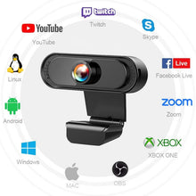 Load image into Gallery viewer, USB 2.0 Genuine Full HD 1080P Webcam Camera Digital Web Cam With Mircophone For Pc Computer Laptop Auto Focus Webcam Camera