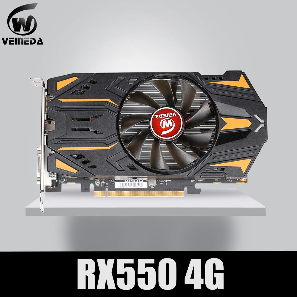 VEINEDA Video Card Radeon RX 550  4GB GDDR5 128 bit Gaming Desktop computer Video Graphics Cards PCI Express3.0 For Amd Card