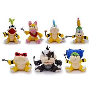 "6-8"" 7Pcs/Set Super Mario Bros Bowser Koopalings Plush Dolls Wendy / LARRY / IGGY /Ludwig /Roy / Morton /Lemmy O.Koopa Plush Toy"