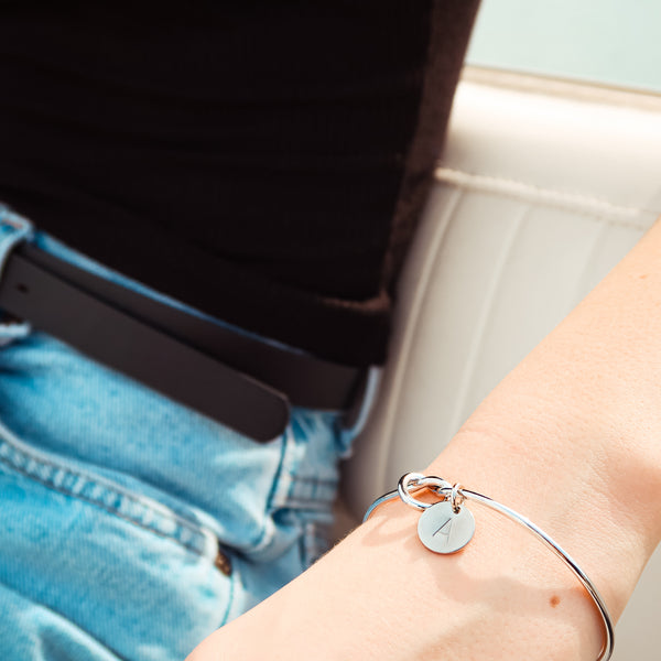 AC Two Charm Initial Bangle Bracelet