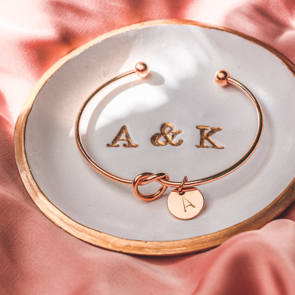 AC Coin Initial Bangle Bracelet
