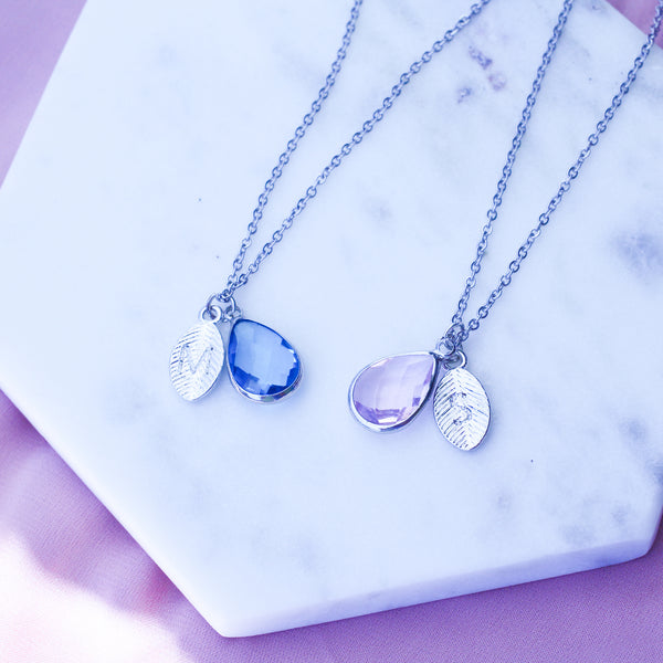 AC Personalized Birthstone Leaf Necklace