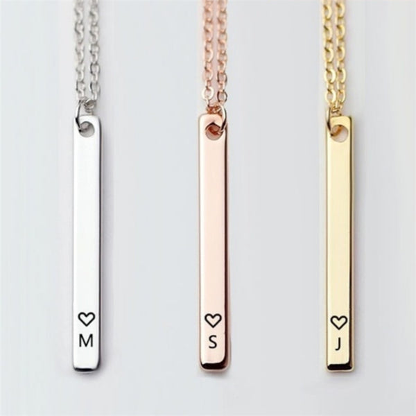 Vertical Bar Initial Necklace