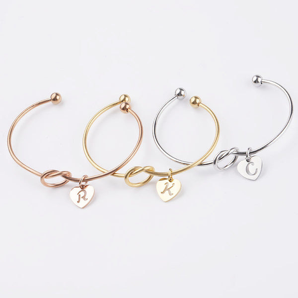 AC Heart Initial Bangle Bracelet
